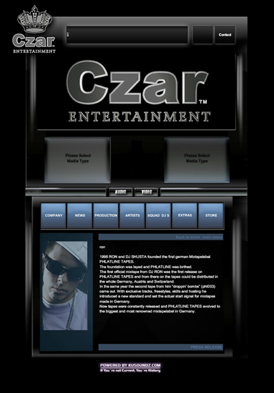 CZAR Entertainment Website Screenshot