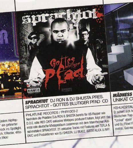 """DJ RON & DJ SHUSTA present SPRACHTOT \""""Gottes Blutiger Pfad\"""" GADP Anzeigen Kampagne"""