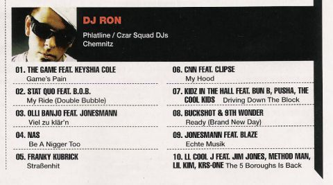 DJ RON Charts in der JUICE 06 / 2008