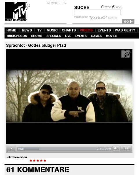 DJ RON, DJ SHUSTA & SPRACHTOT - Gottes Blutiger Pfad Video Premiere auf MTV.DE