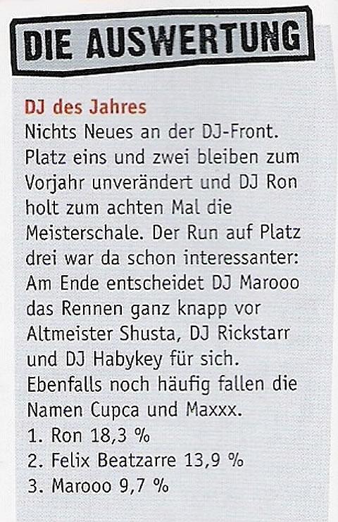 DJ RON - DJ des Jahres 2008 im 371 Stadtmagazin Chemnitz