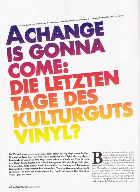 DJ RON in der Backspin - A Change Is Gonna Come, Die Letzten Tage des Kulturgutes Vinyl?
